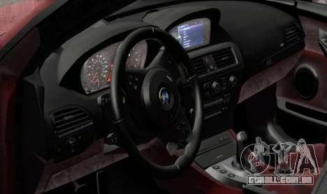 BMW M6 E63 para GTA San Andreas traseira esquerda vista