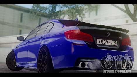 BMW M5 F10 Top Service MSK para GTA San Andreas traseira esquerda vista
