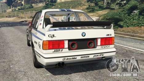 GTA 5 BMW M3 (E30) 1991 [Nalan] v1.2 traseira vista lateral esquerda