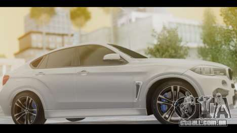 BMW X6M F86 v2.0 para GTA San Andreas traseira esquerda vista