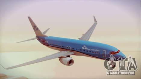 Boeing 737-800 KLM Royal Dutch Airlines para GTA San Andreas traseira esquerda vista