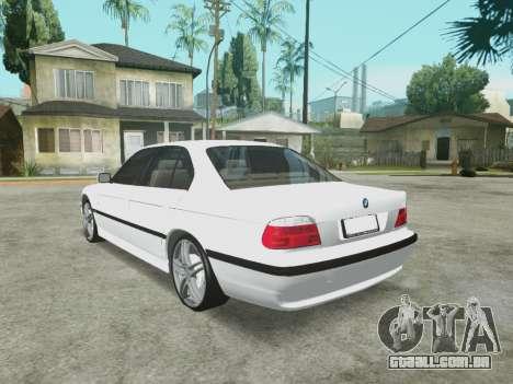 BMW 750i para GTA San Andreas traseira esquerda vista