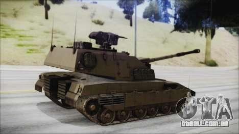 M4 Scorcher Self Propelled Artillery para GTA San Andreas esquerda vista