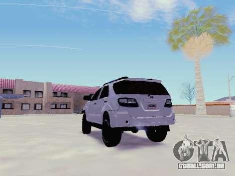 Toyota Fortuner 2012 TRD Off-Road para GTA San Andreas traseira esquerda vista