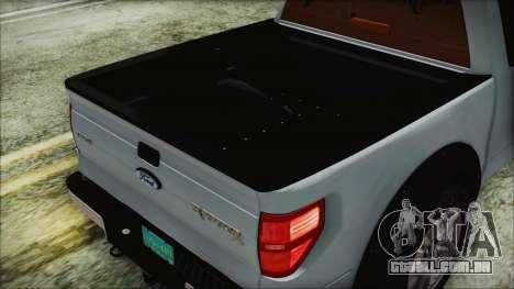 Ford F-150 SVT Raptor 2012 Stock Version para GTA San Andreas vista interior