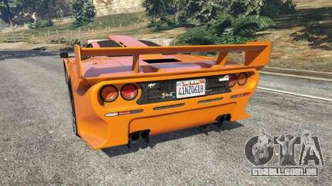 GTA 5 McLaren F1 GTR Longtail traseira vista lateral esquerda