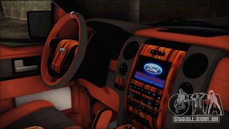 Ford F-150 SVT Raptor 2012 Stock Version para GTA San Andreas vista direita
