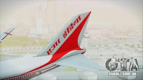 Boeing 747-237Bs Air India Krishna Deva Raya para GTA San Andreas traseira esquerda vista