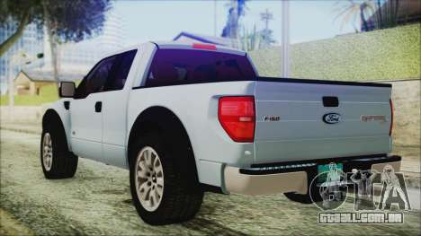 Ford F-150 SVT Raptor 2012 Stock Version para GTA San Andreas esquerda vista