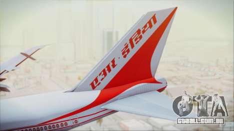 Boeing 747-237Bs Air India Akbar para GTA San Andreas traseira esquerda vista