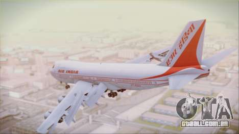 Boeing 747-237Bs Air India Akbar para GTA San Andreas esquerda vista