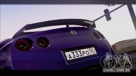 Nissan GT-R para GTA San Andreas traseira esquerda vista
