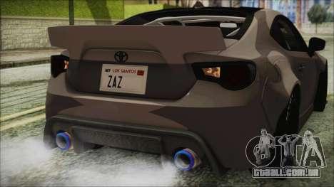 Toyota GT86 Rocket Bunny Tunable IVF para GTA San Andreas vista superior