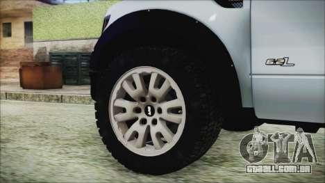 Ford F-150 SVT Raptor 2012 Stock Version para GTA San Andreas traseira esquerda vista