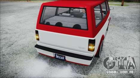GTA 5 Declasse Moonbeam Bobble Version IVF para GTA San Andreas vista traseira