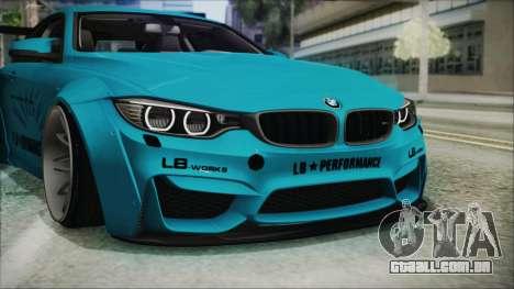 BMW M4 2014 Liberty Walk para GTA San Andreas vista superior