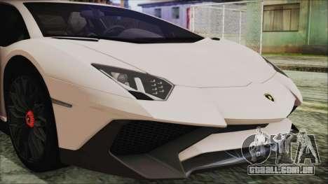 Lamborghini Aventador SV 2015 para GTA San Andreas vista traseira