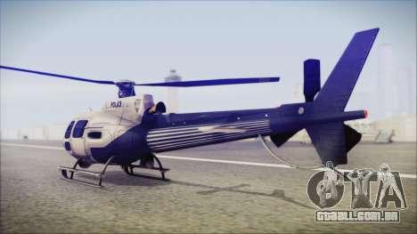 Batman Arkham Knight Police-Swat Helicopter para GTA San Andreas esquerda vista