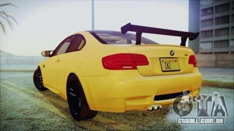 BMW M3 GTS 2011 IVF para GTA San Andreas traseira esquerda vista
