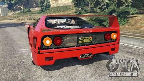GTA 5 Ferrari F40 1987 traseira vista lateral esquerda