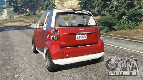 GTA 5 Smart ForTwo 2012 v0.1 traseira vista lateral esquerda