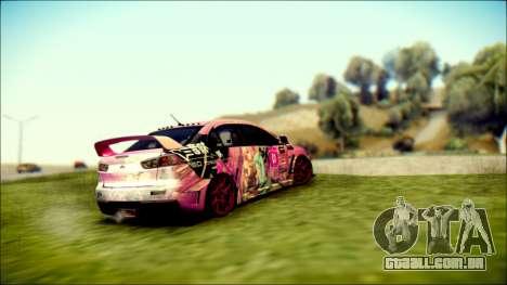 Mitsubishi Lancer Evolution Miku X Luka Itasha para GTA San Andreas esquerda vista