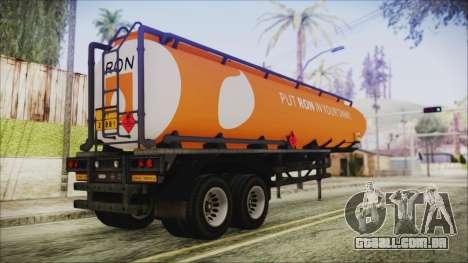GTA 5 RON Tanker Trailer para GTA San Andreas esquerda vista