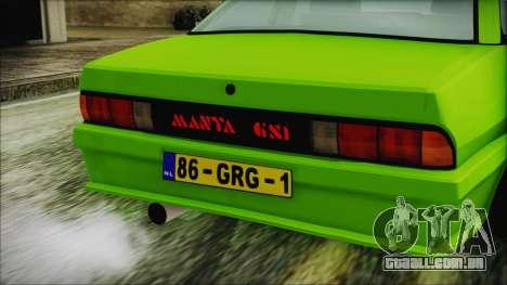 Opel Manta New Kids HQ para GTA San Andreas vista traseira