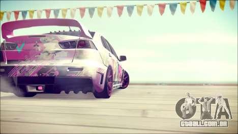 Mitsubishi Lancer Evolution Miku X Luka Itasha para GTA San Andreas traseira esquerda vista
