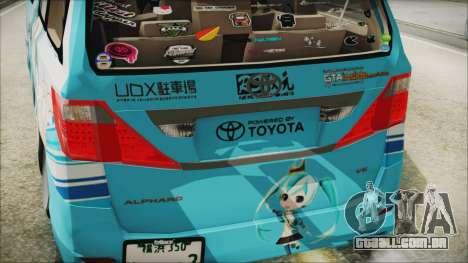 Toyota Alphard Hatsune Miku para GTA San Andreas vista traseira