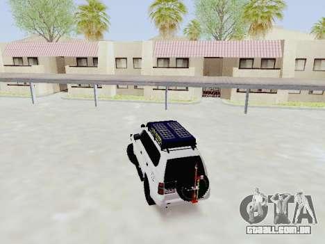 Toyota Land Cruiser Prado off-road LED para GTA San Andreas traseira esquerda vista