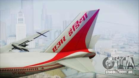 Boeing 747-237Bs Air India Mahendra Verman para GTA San Andreas traseira esquerda vista