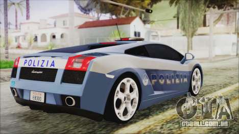 Lamborghini Gallardo 2004 Italian Polizia para GTA San Andreas esquerda vista