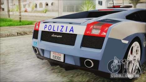 Lamborghini Gallardo 2004 Italian Polizia para GTA San Andreas vista traseira