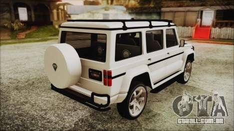 Benefactor Dubsta 4x4 Custom Tuning para GTA San Andreas esquerda vista