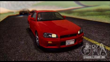 Nissan Skyline R-34 GT-R V-spec 1999 No Dirt para GTA San Andreas vista traseira