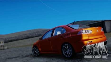 Mitsubishi Lancer Evolution X Tunable New PJ para GTA San Andreas traseira esquerda vista