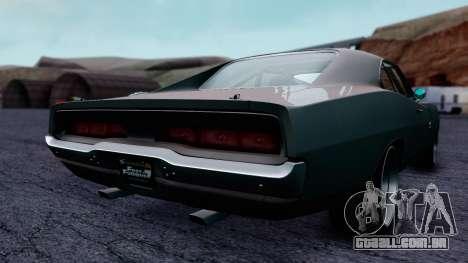 Dodge Charger RT 1970 FnF7 para GTA San Andreas traseira esquerda vista