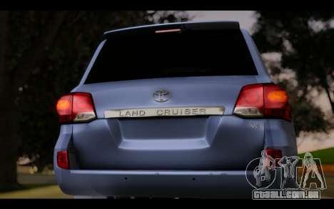 Toyota Land Cruiser 200 2013 Off Road para GTA San Andreas vista traseira