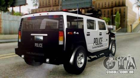 New Police Ranger para GTA San Andreas esquerda vista