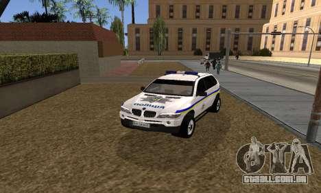 BMW X5 Ukranian Police para GTA San Andreas vista direita
