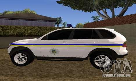 BMW X5 Ukranian Police para GTA San Andreas vista traseira