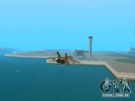 O MiG 25 para GTA San Andreas vista traseira