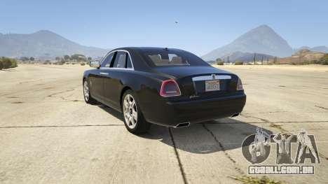 GTA 5 Rolls Royce Ghost 2014 traseira vista lateral esquerda