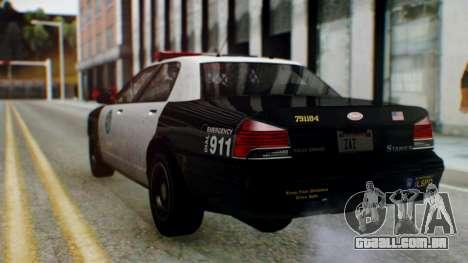GTA 5 Vapid Stanier II Police para GTA San Andreas traseira esquerda vista