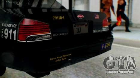 GTA 5 Vapid Stanier II Police para GTA San Andreas vista traseira