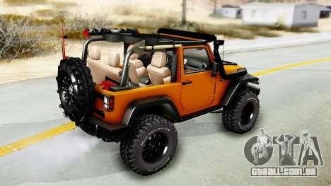 Jeep Wrangler Off Road para GTA San Andreas traseira esquerda vista