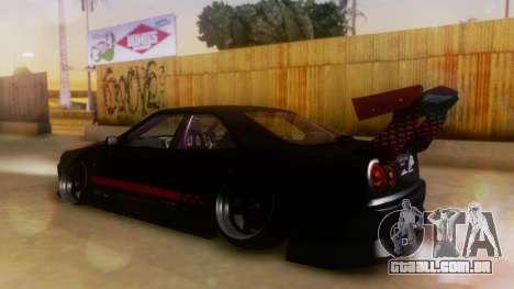 Nissan Skyline GT-R R34 Hella para GTA San Andreas traseira esquerda vista