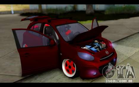 Nissan March 2011 Hellaflush para vista lateral GTA San Andreas