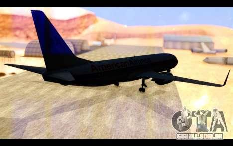 Boeing 737-800 American Airlines para GTA San Andreas traseira esquerda vista